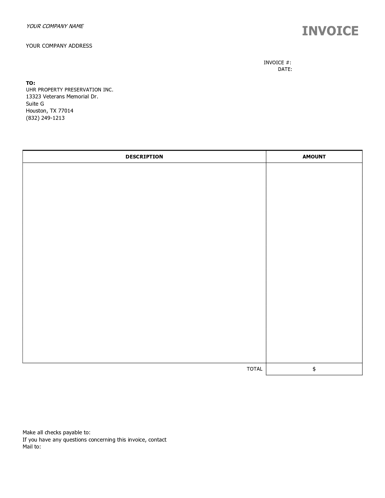 free construction invoice template 15 best photos of free construction invoice template downloads 1275 X 1650