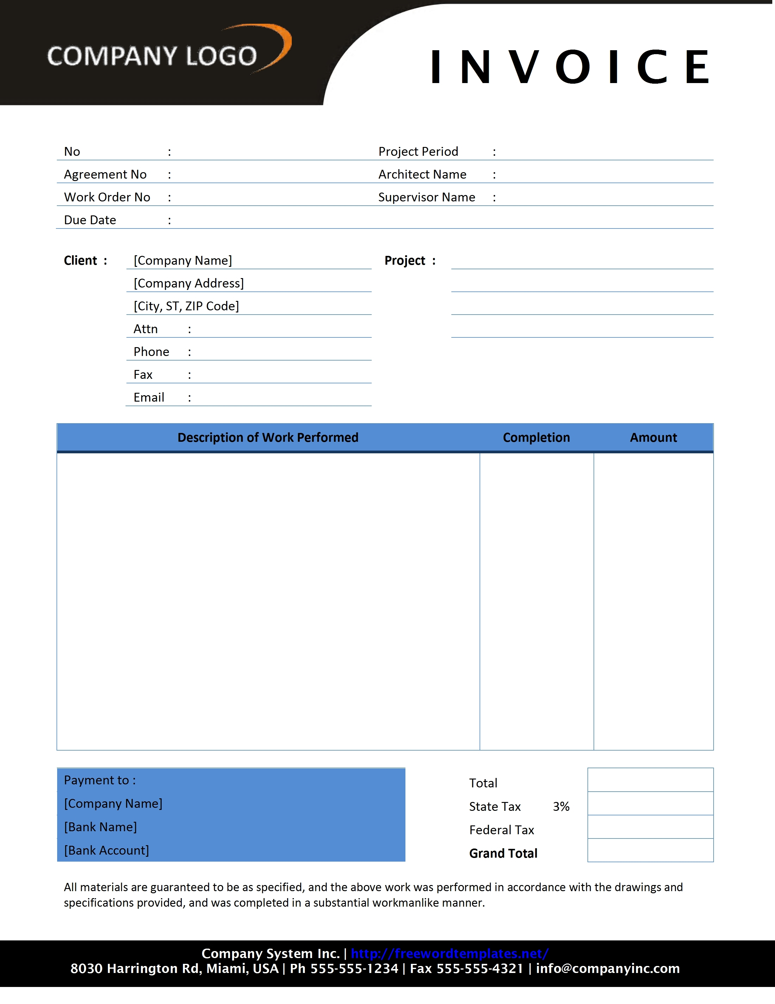 free construction invoice template contractor invoice template free microsoft word templates 2550 X 3300