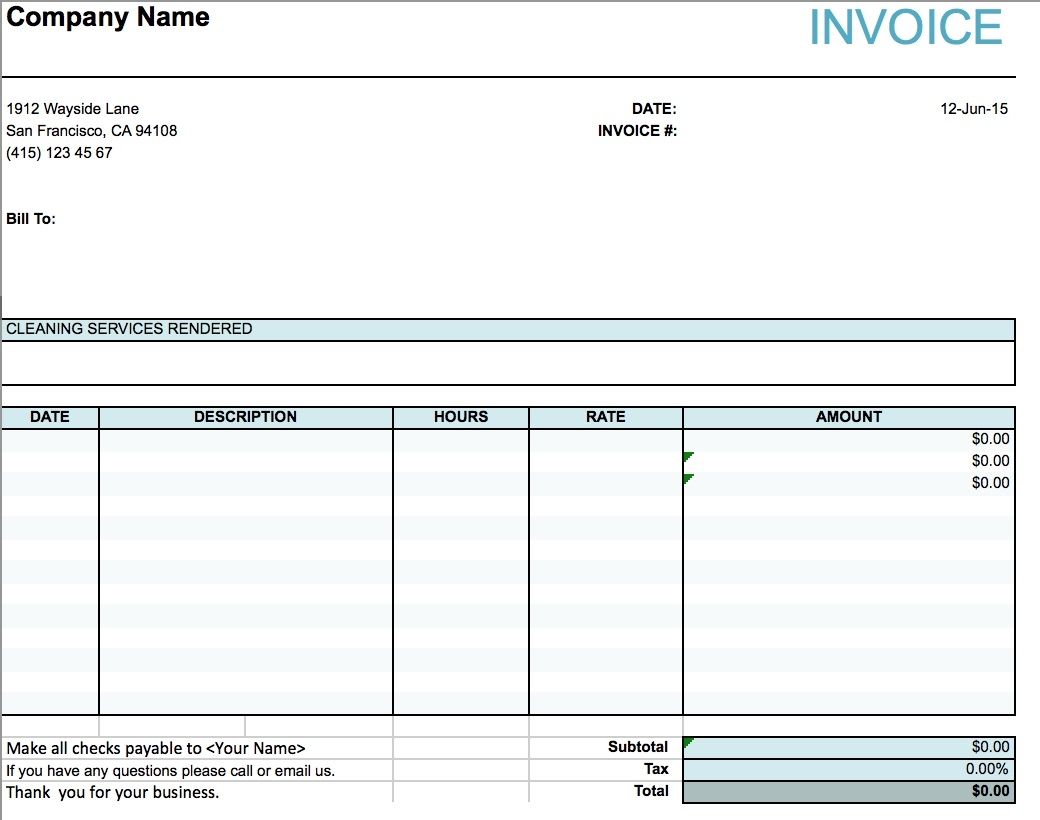 Cleaning Services Invoice Sample * Invoice Template Ideas