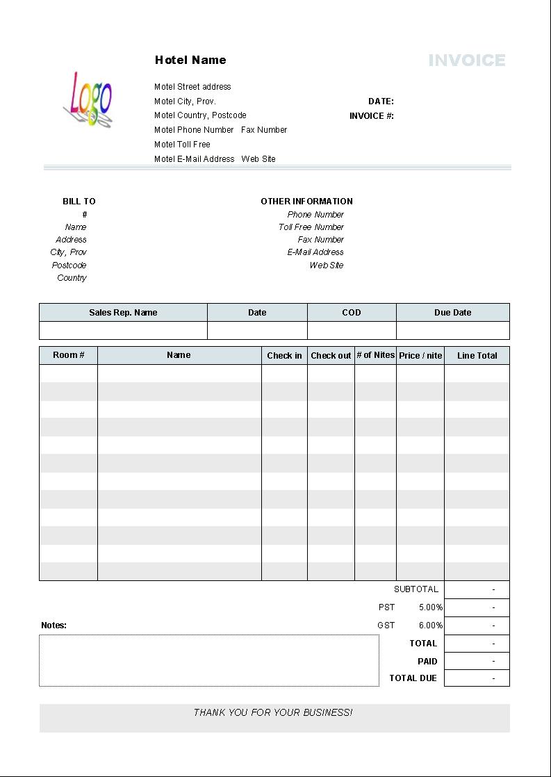 hotel invoice template uniform invoice software hotel invoice sample
