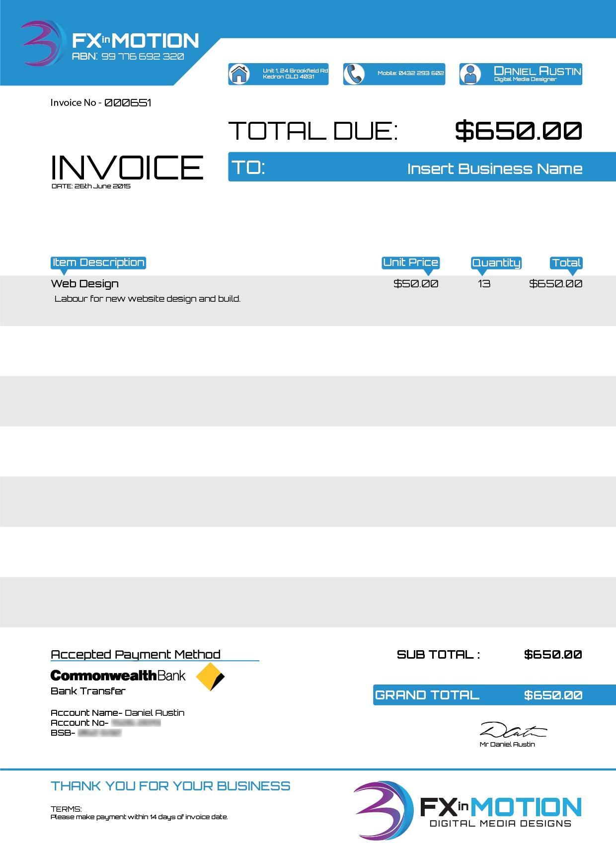 illustrator invoice template daniel austin portfolio fx in motion invoice template 1240 X 1720