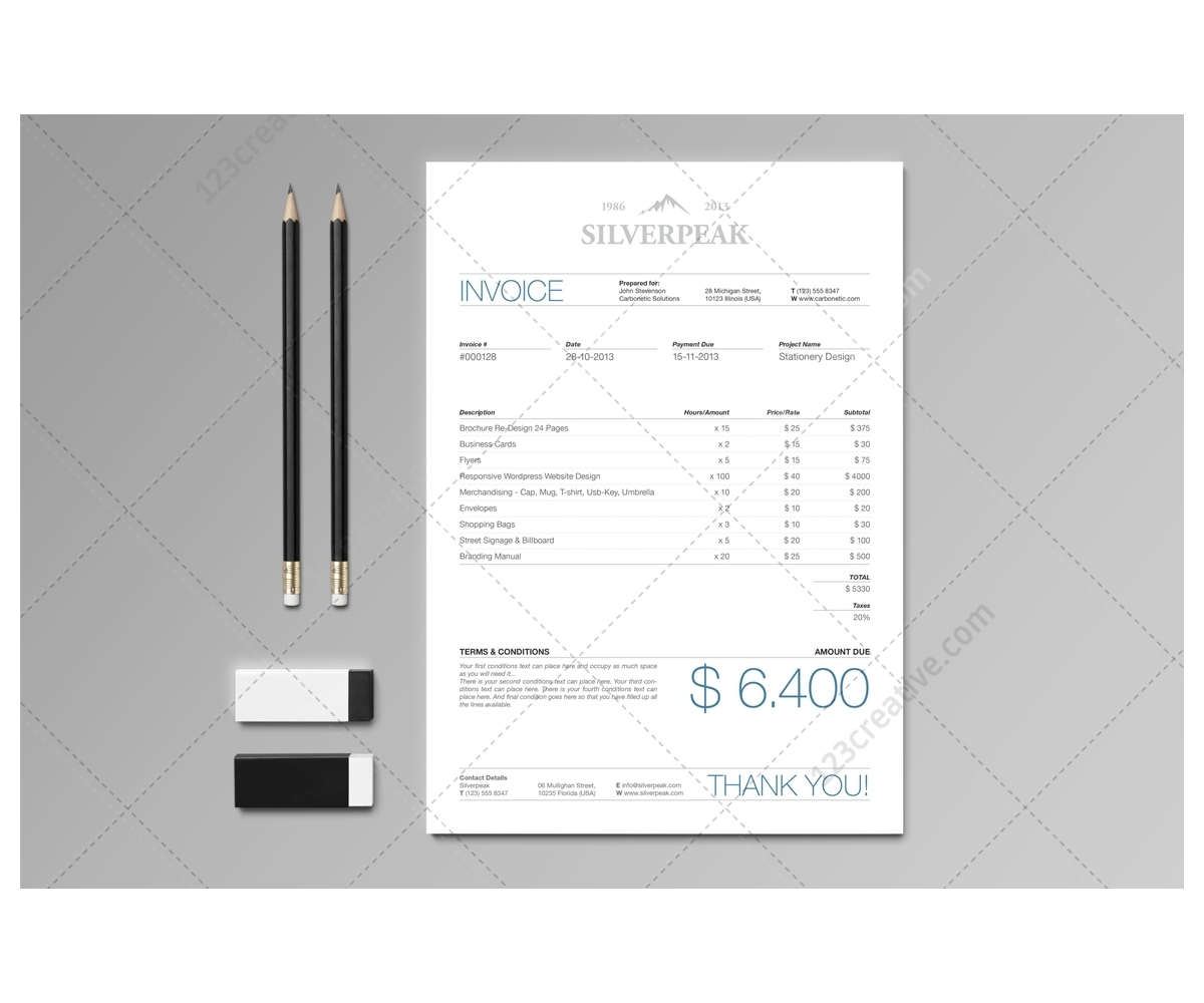 illustrator invoice template stationery set amp invoice professional graphic template invoice 1200 X 1000