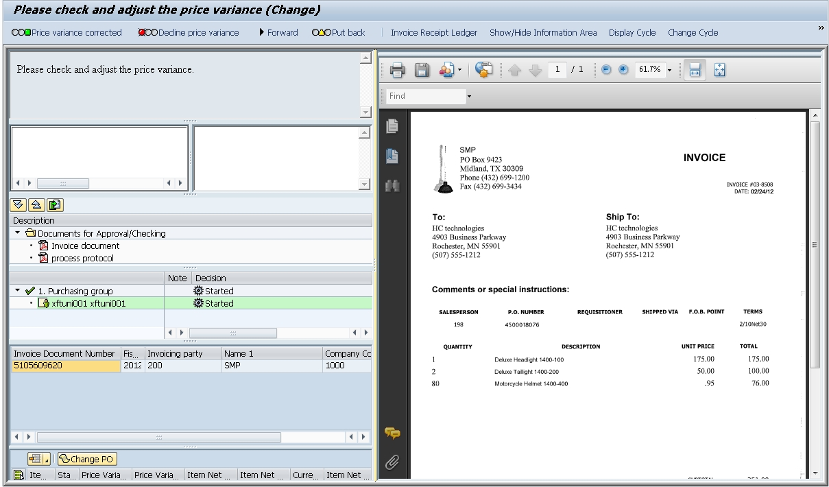 invoice price variance screenshots xft 1209 X 710