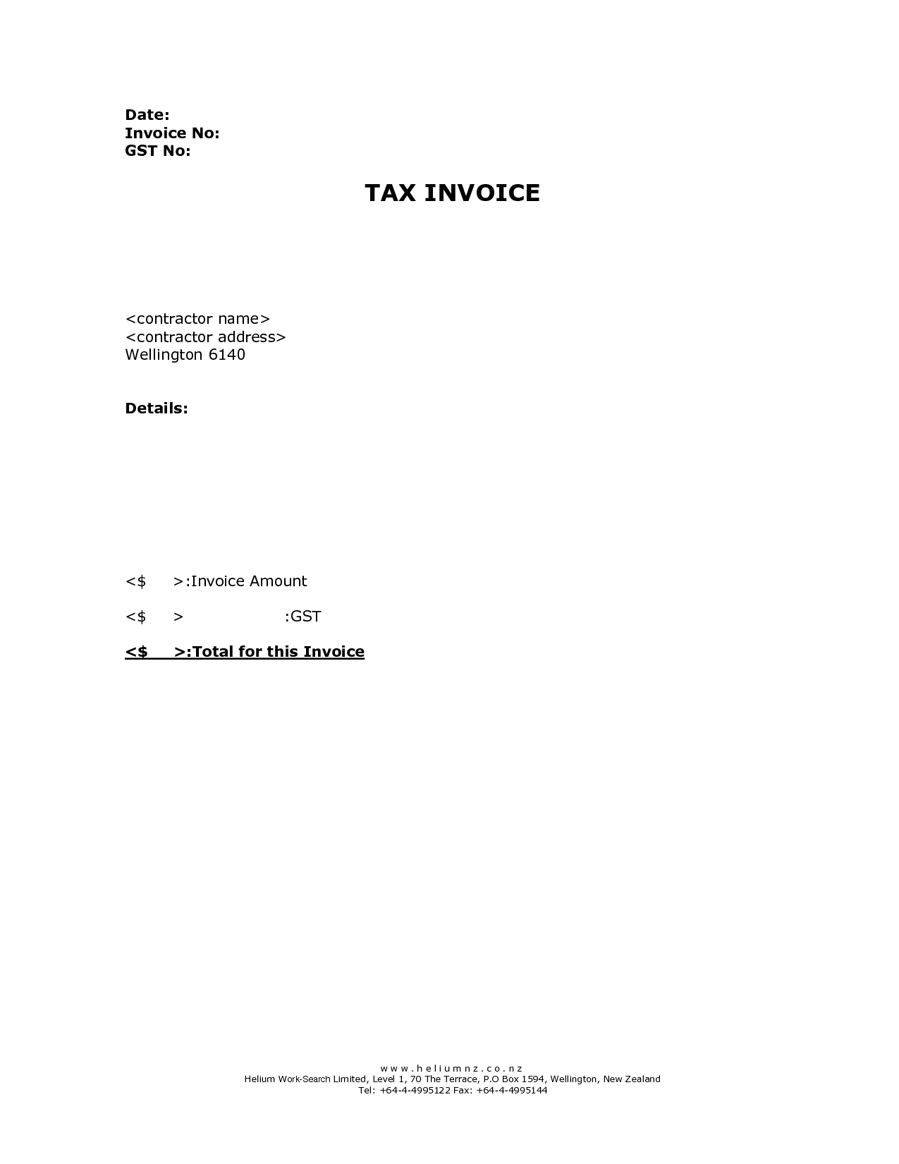 invoice template nz not gst registered – notators, Invoice examples