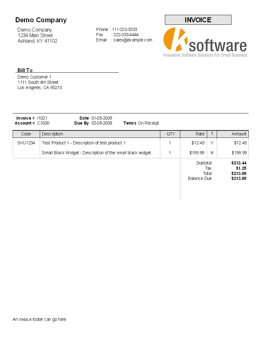 kbilling help terms of payment on invoice