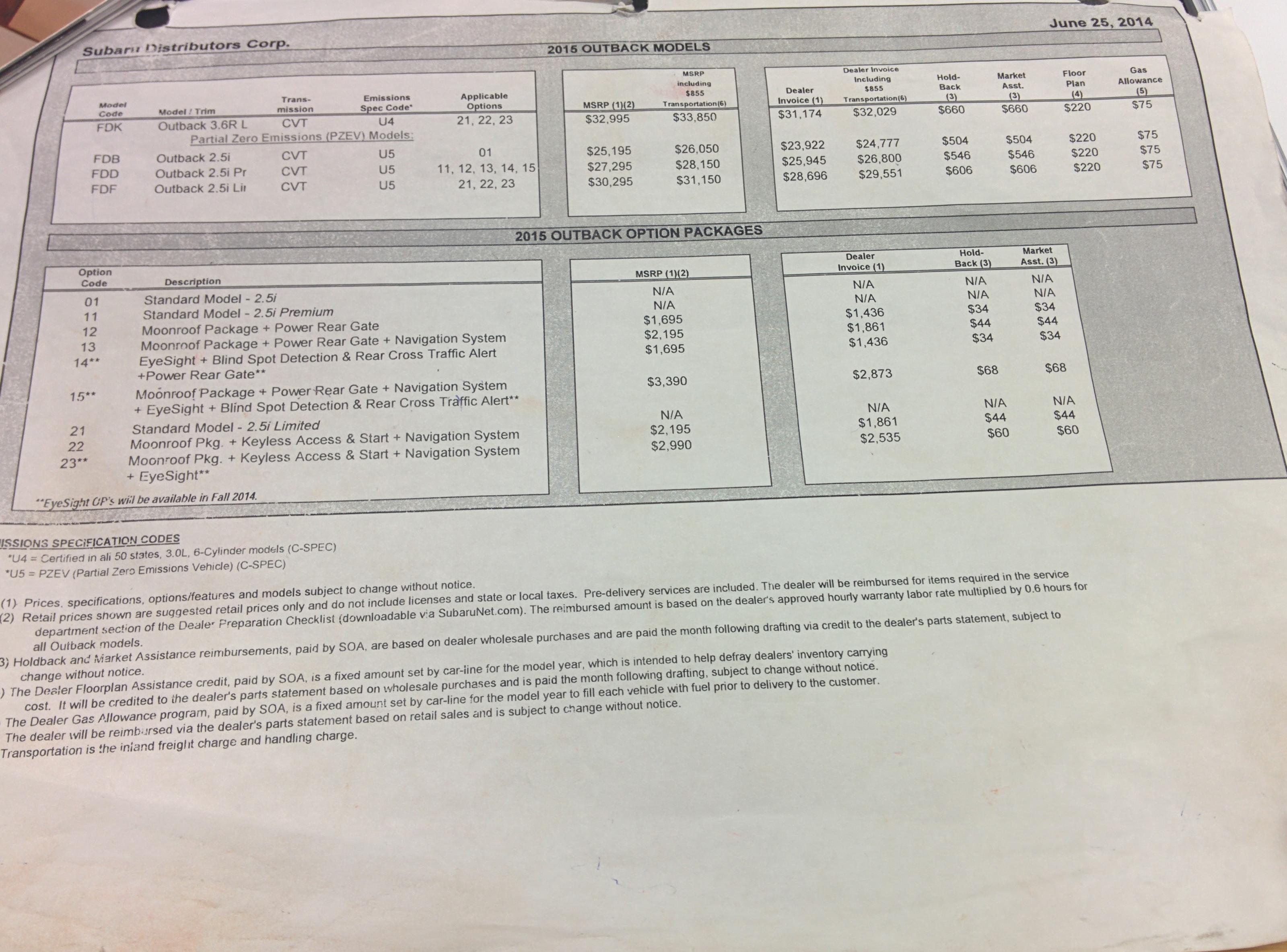 msrpinvoicepurchase price thread page 180 subaru outback subaru outback invoice