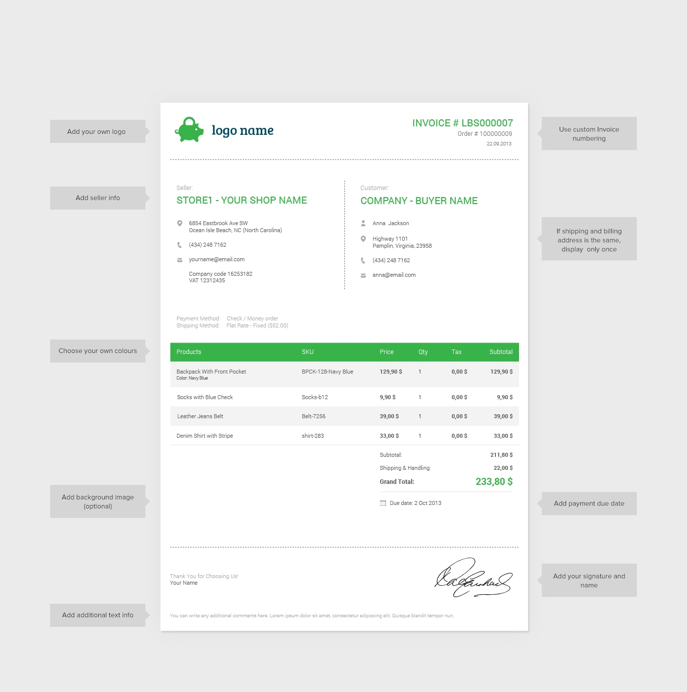 ... Professional And Customizable Magento Pdf Invoice S4commerce Custom  Made Invoices ...  Custom Made Invoices