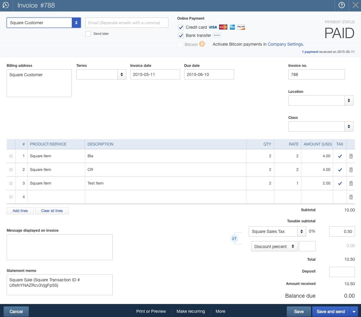 quickbooks online sync with square accountex report square invoice app