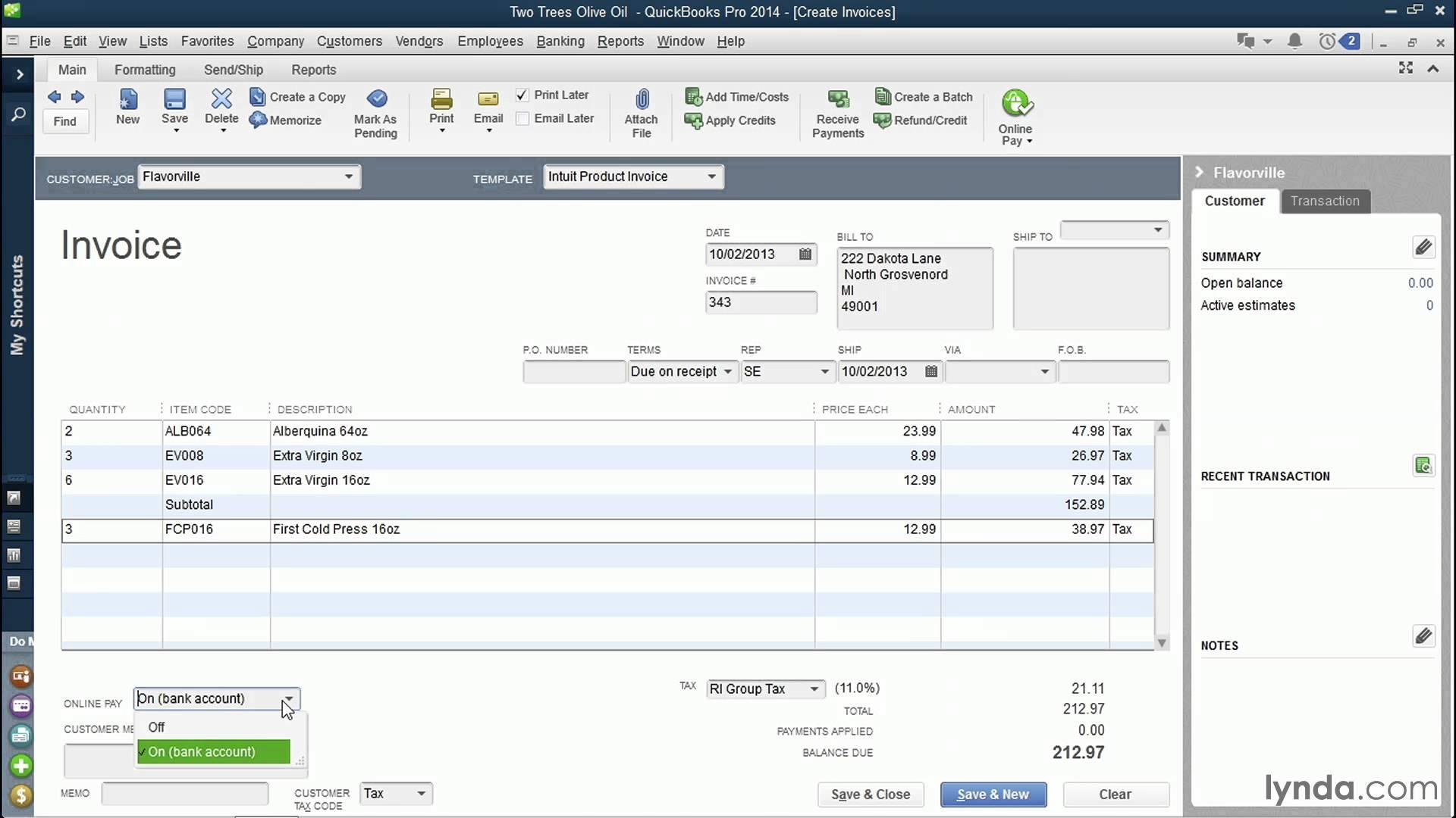 quickbooks pro 2014 tutorial invoicing customers lynda quickbooks invoice tutorial