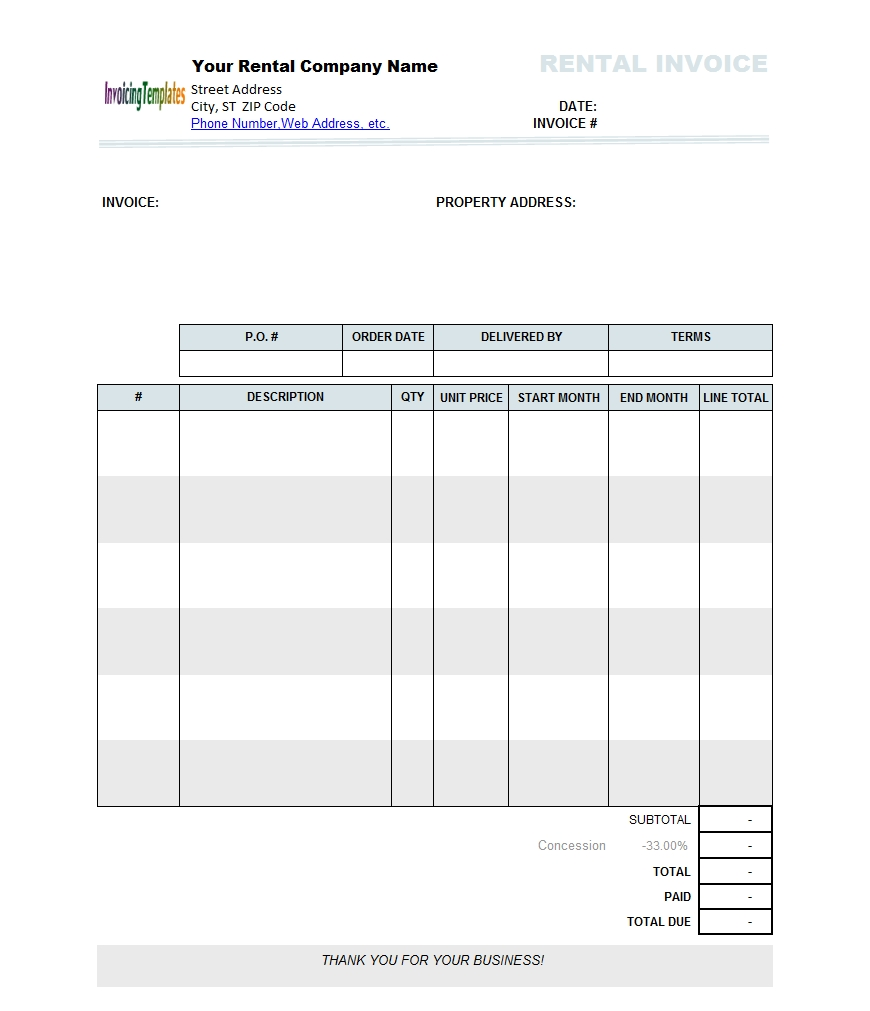 rental invoice template excel project management certification rent invoice template excel