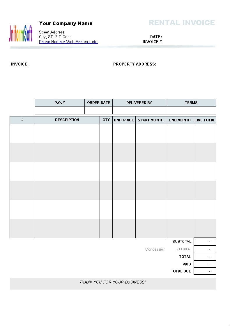 rental invoice template uniform invoice software rent invoice template excel