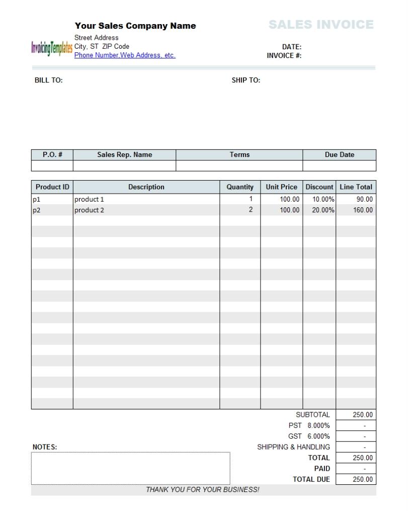 define sales invoice