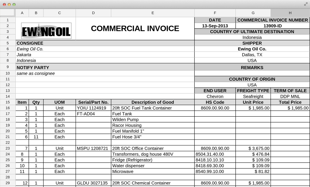 shipments modules invoice packing list