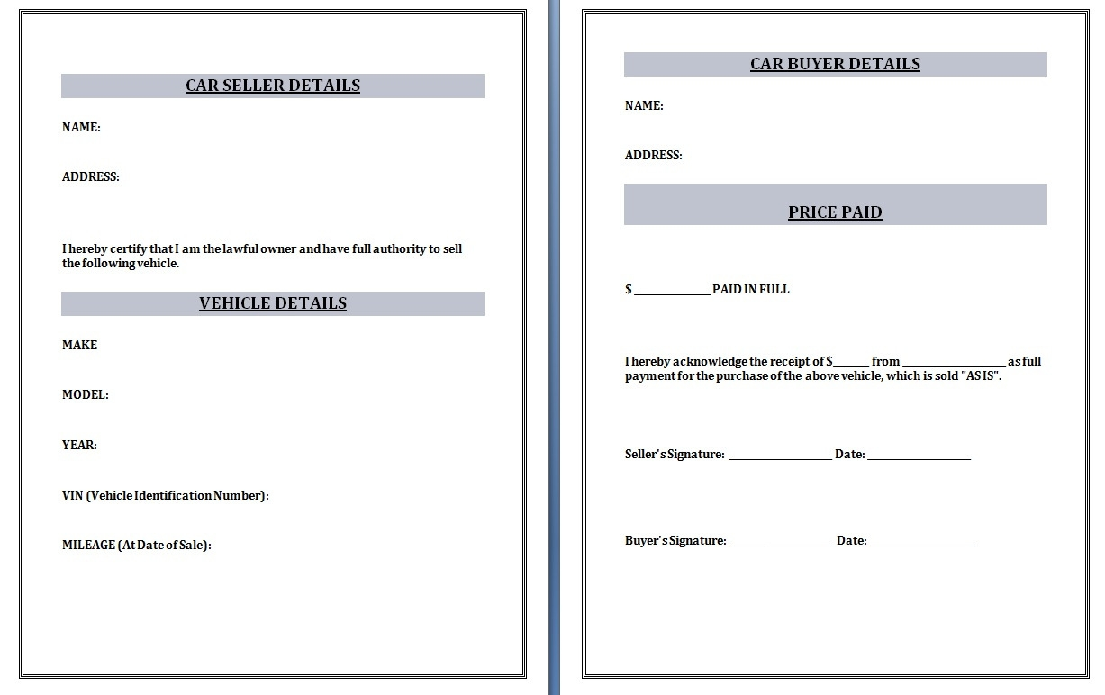 used car receipt template word excel formats used car invoice template