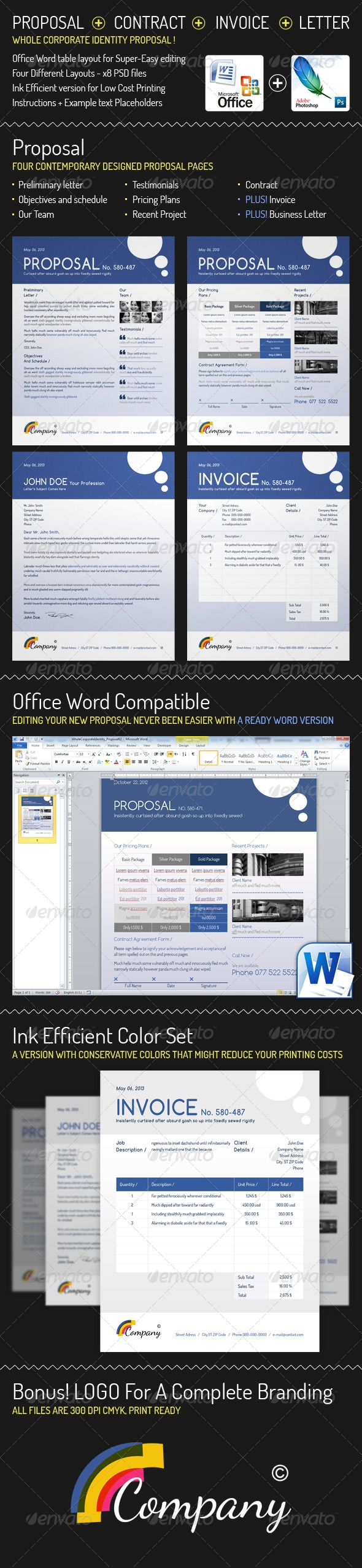 whole corporate identity proposal invoice letter graphicriver corporate invoice template