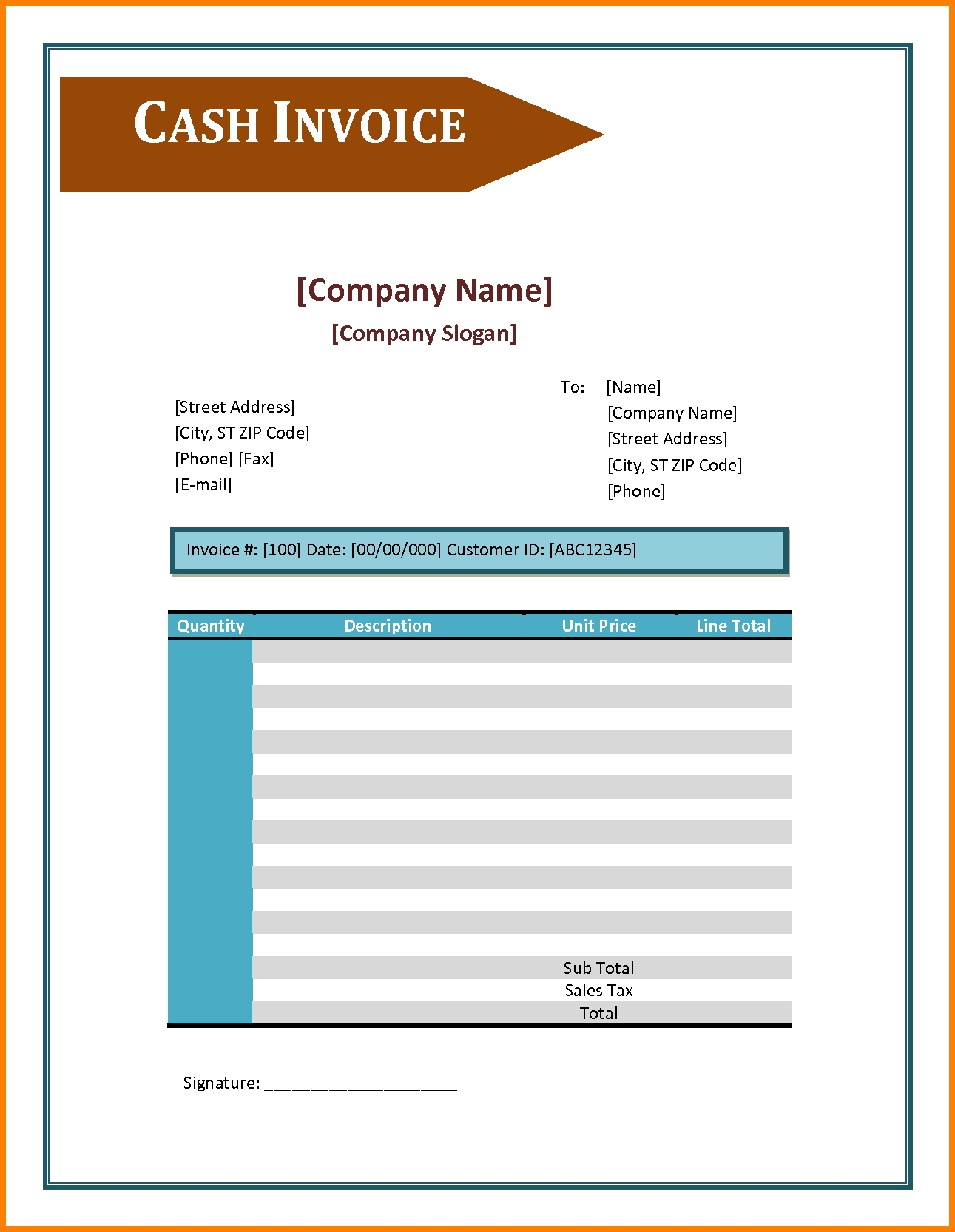 Cash Invoice Sample