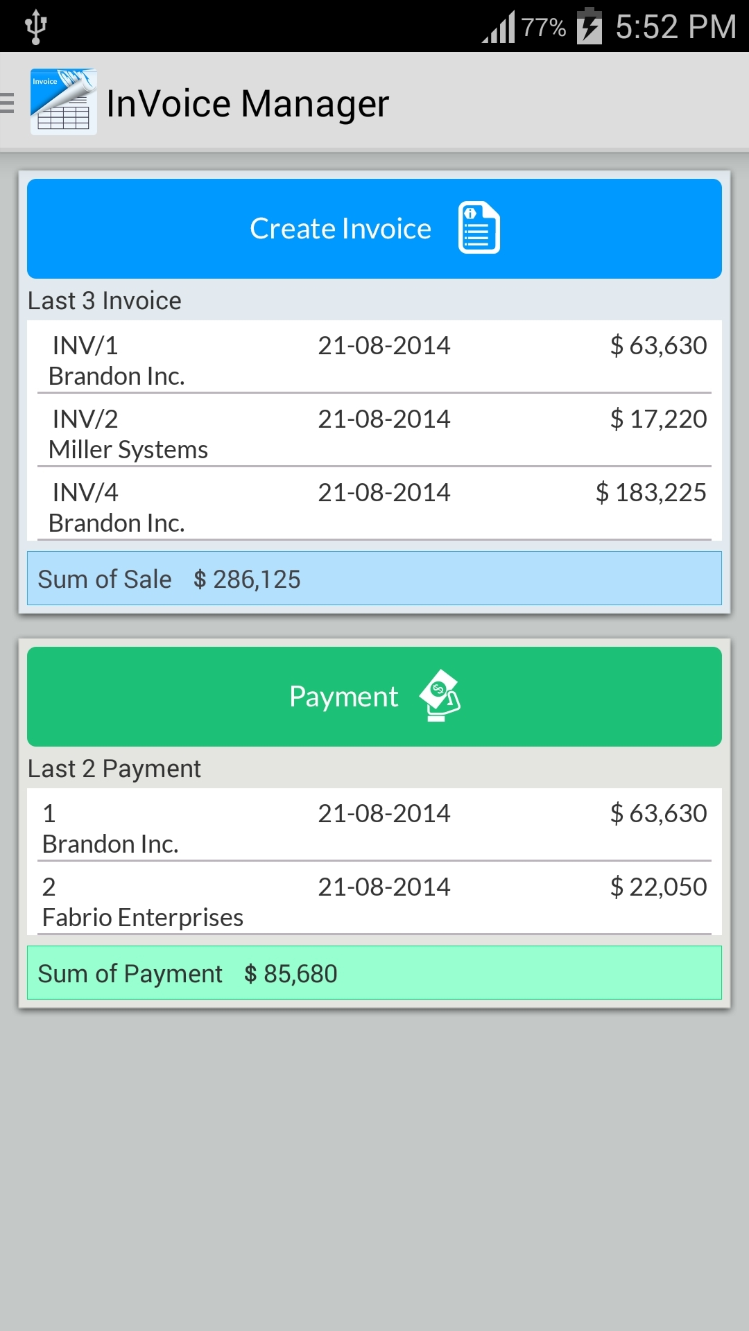 Android Invoice App