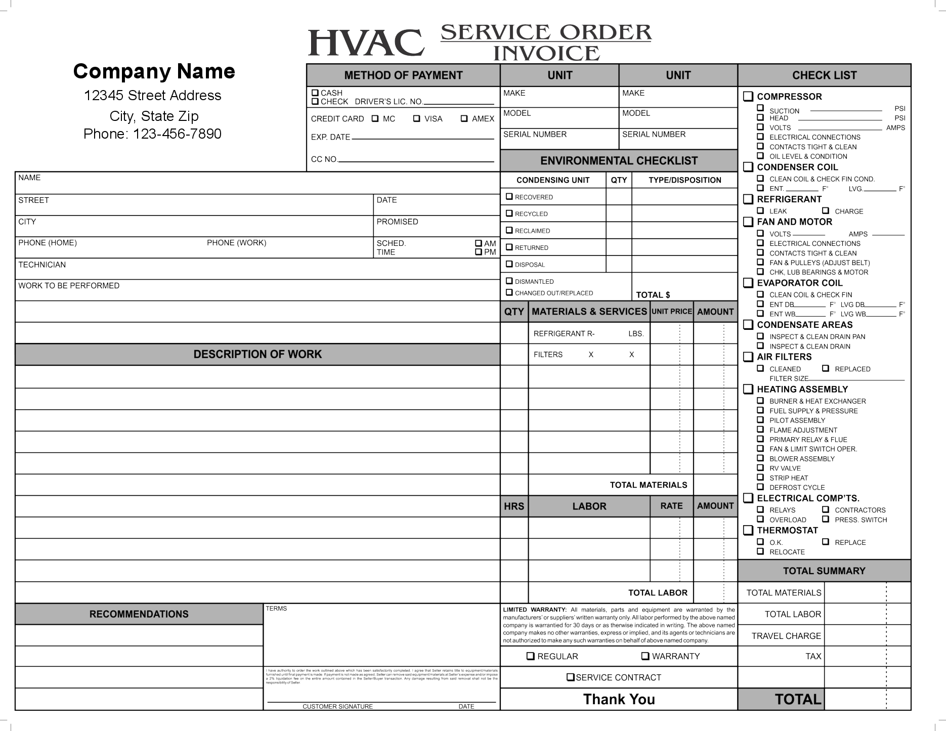 carbonless forms hvac service order invoice