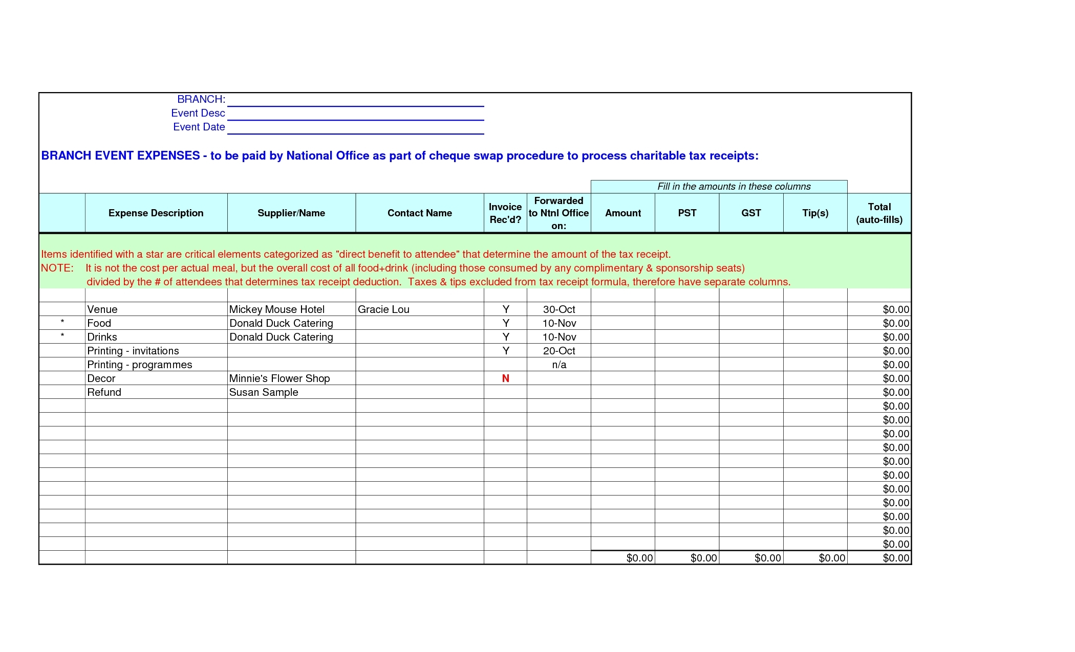 Catering Invoice Template Excel