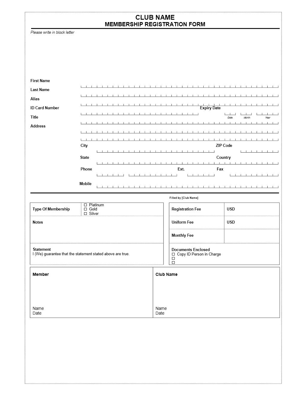 club membership application form word templates free word membership invoice template