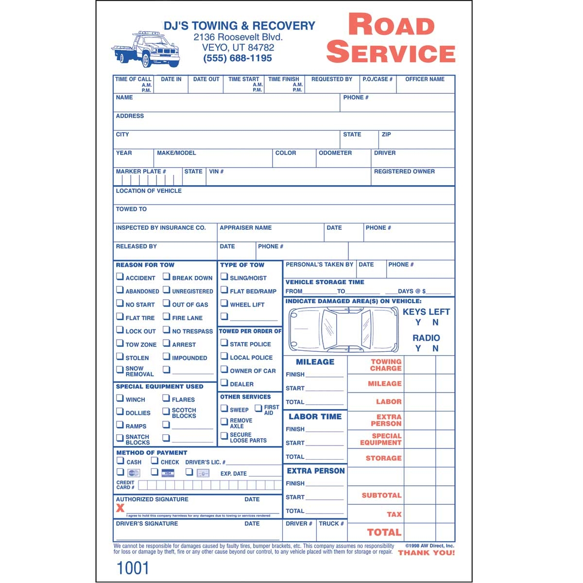 custom road service invoices 250 forms aw direct tow truck invoice