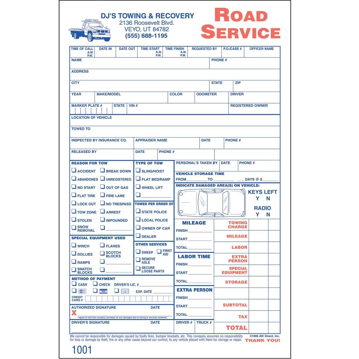 Tow Truck Invoice