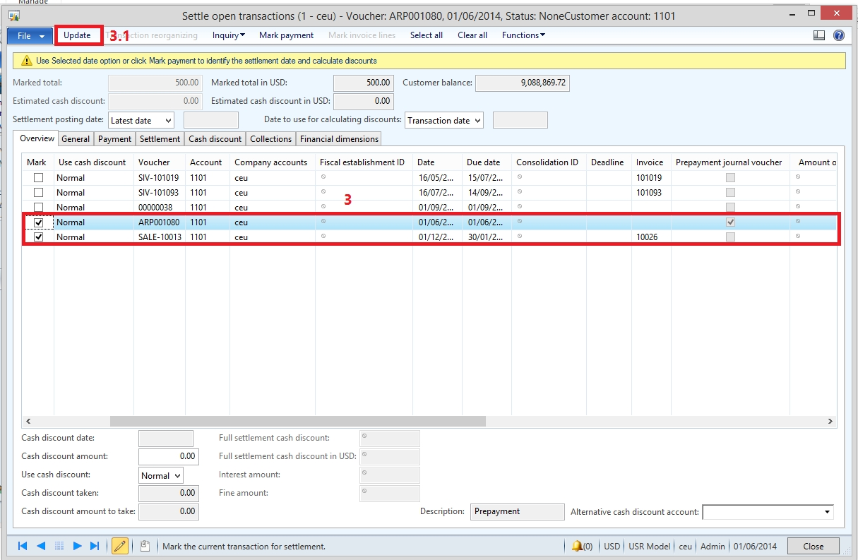 dynamics ax tips payments in advance prepayment from a settle an invoice