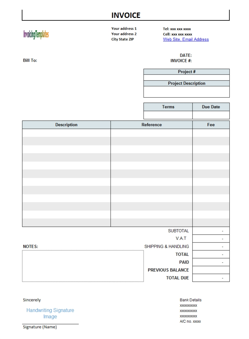 receipt template for services rendered
