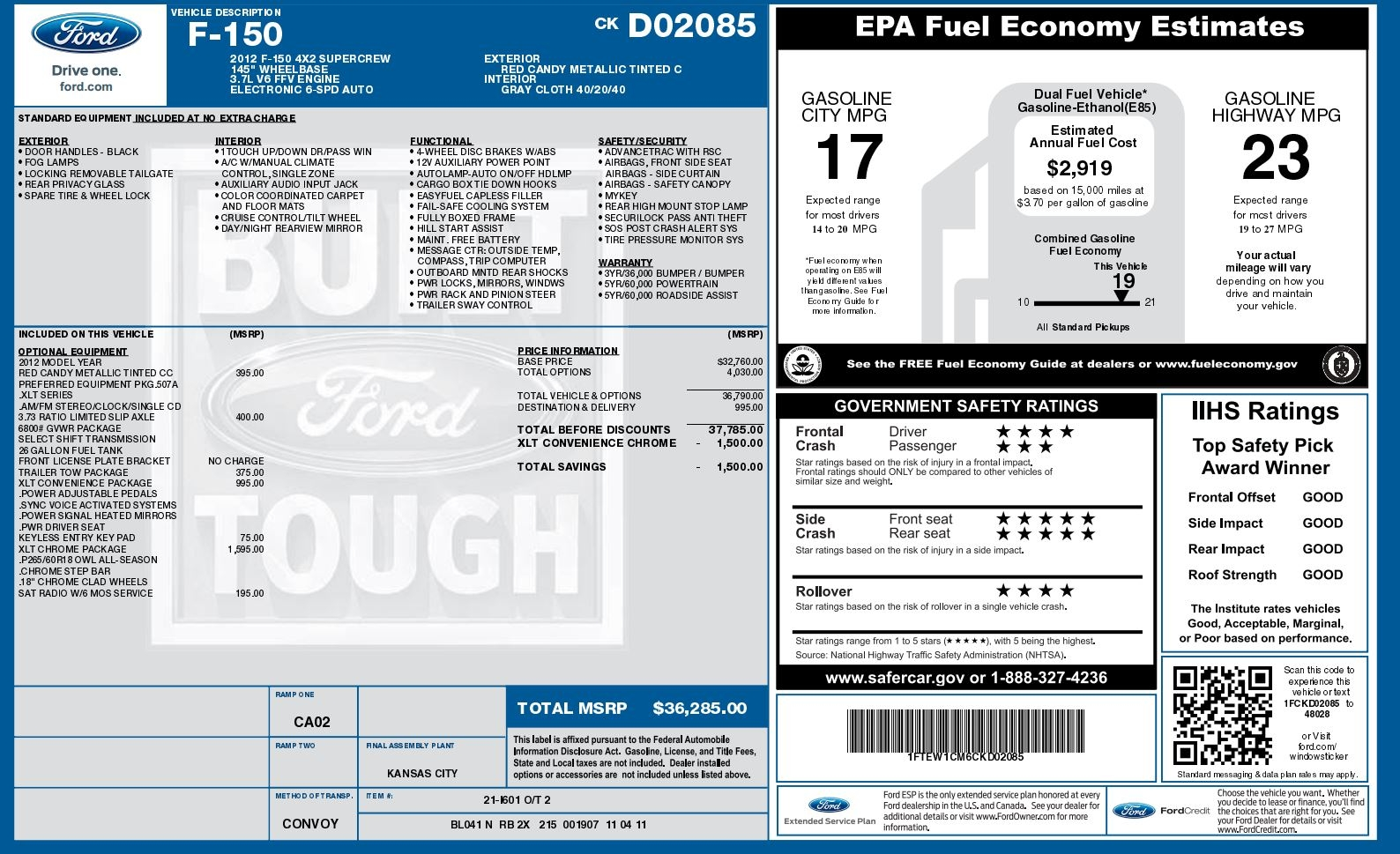 ford f 150 invoice 2012 ford f150 xlt supercrew diminished value car appraisal 1588 X 969