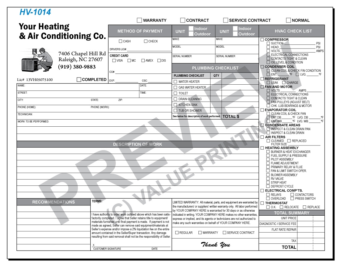 free design fast shipping on hvac forms hvac invoices amp work hvac service order invoice