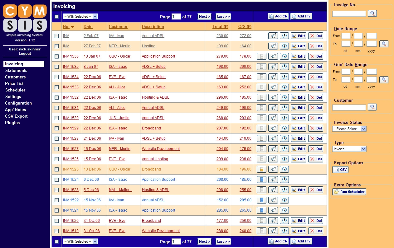 freelance web developer nicholas skinner portfolio invoice tracking system