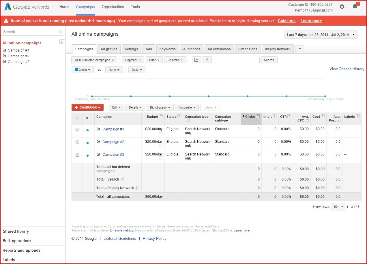 Google Adwords Invoice