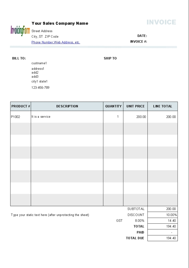 gst invoice template free invoice template free 2016 invoice with gst template