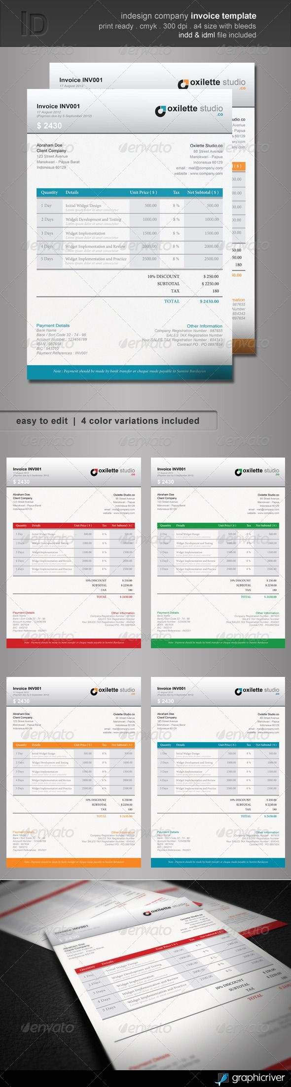 indesign invoice template indesign company invoice template graphicriver features clean 590 X 2200