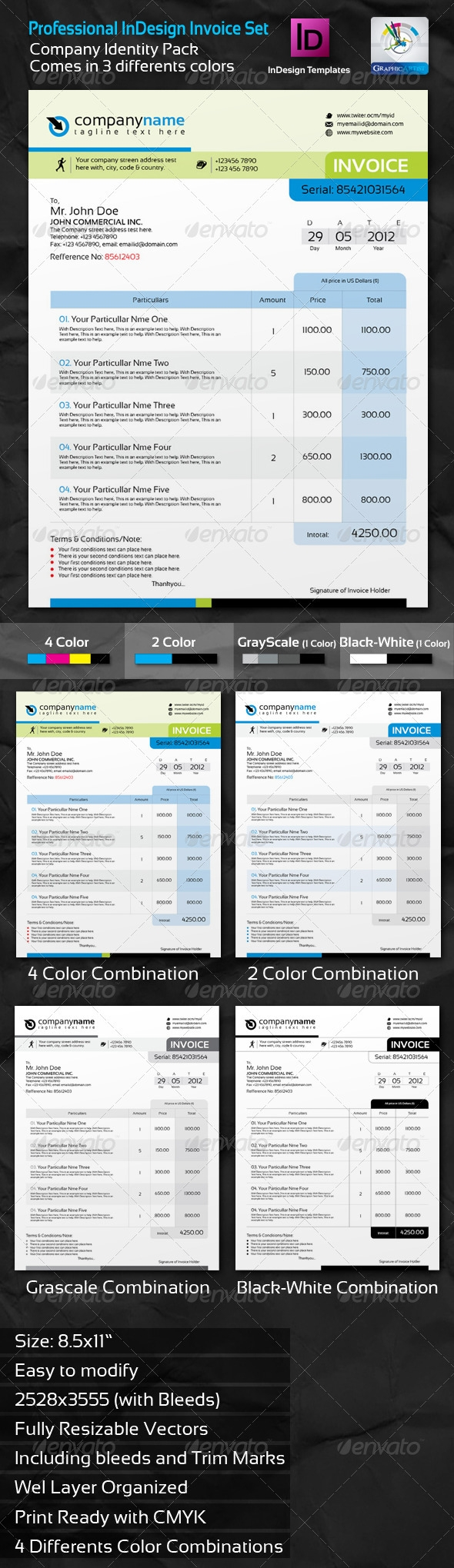 indesign invoice template professional invoice indesign template set graphicriver 590 X 2039