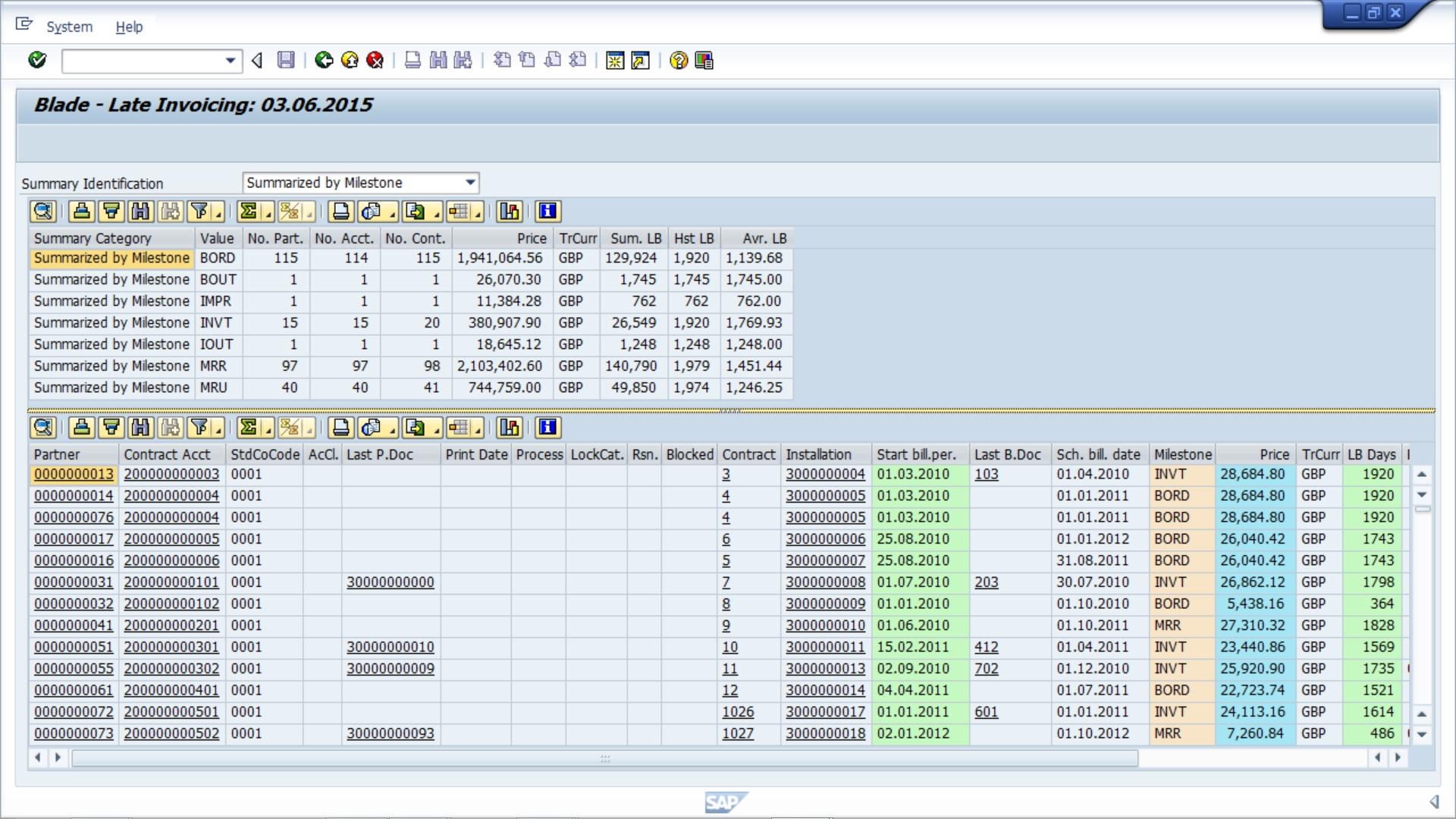 individual late invoice records explained blade late bill sap invoice table