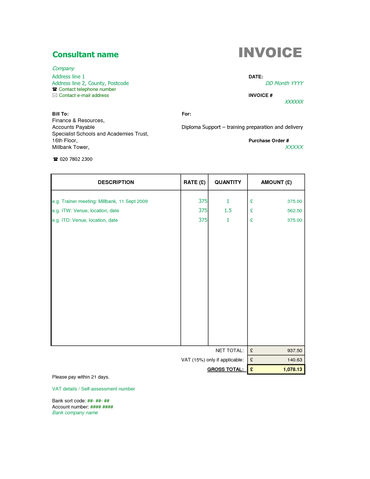 invoice template for consulting services consulting services event planning invoice template