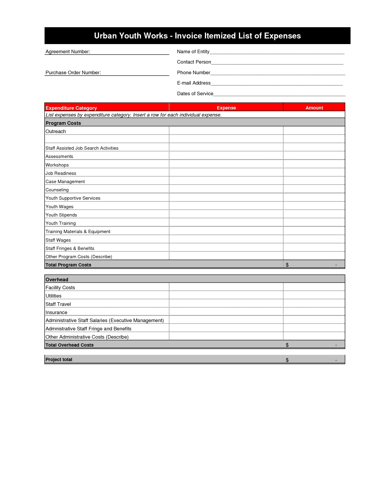 itemized invoice template 6 best images of itemized invoice template itemized invoice 1275 X 1650
