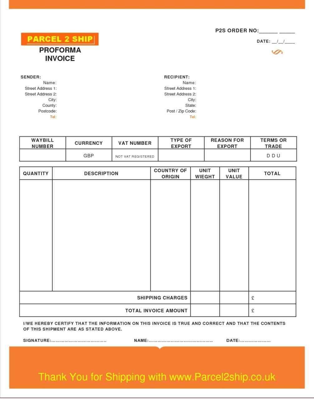 Proforma Invoice For Services