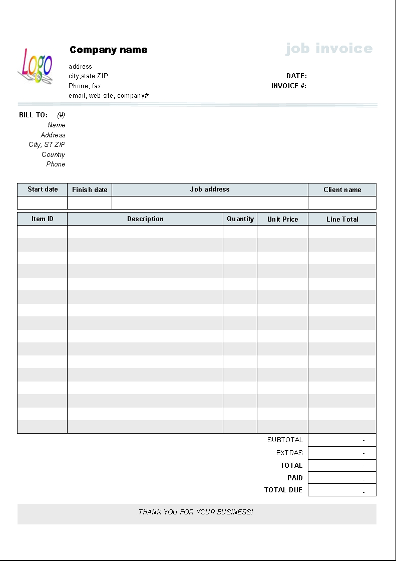 Microsoft Works Invoice Template - Invoice template for excel 2007