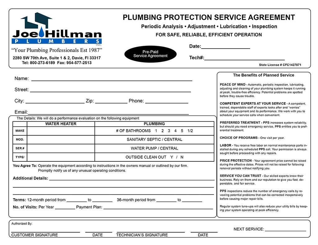 joe hillman plumbers service agreement invoice plumbing service invoices