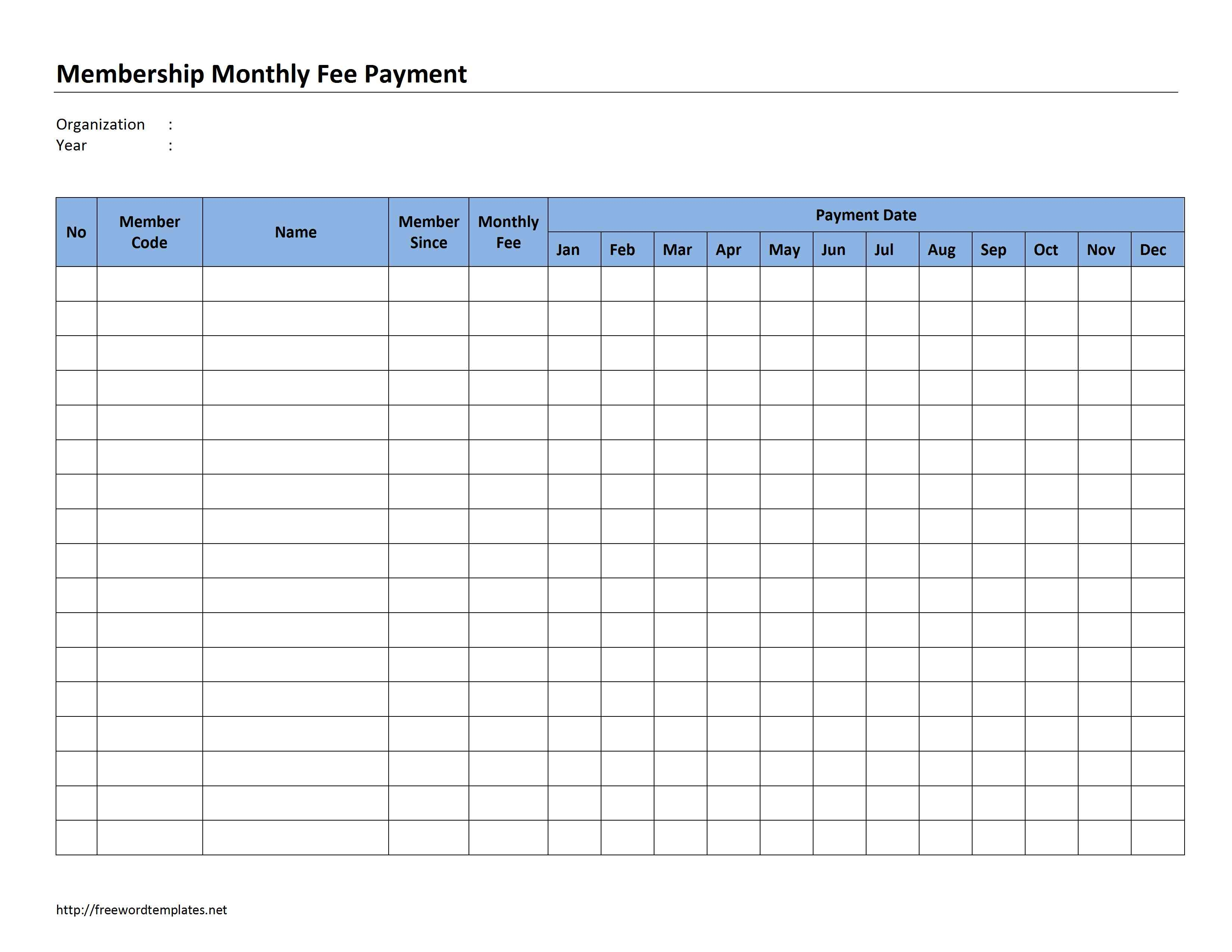 membership monthly fee payment word templates free word membership invoice template