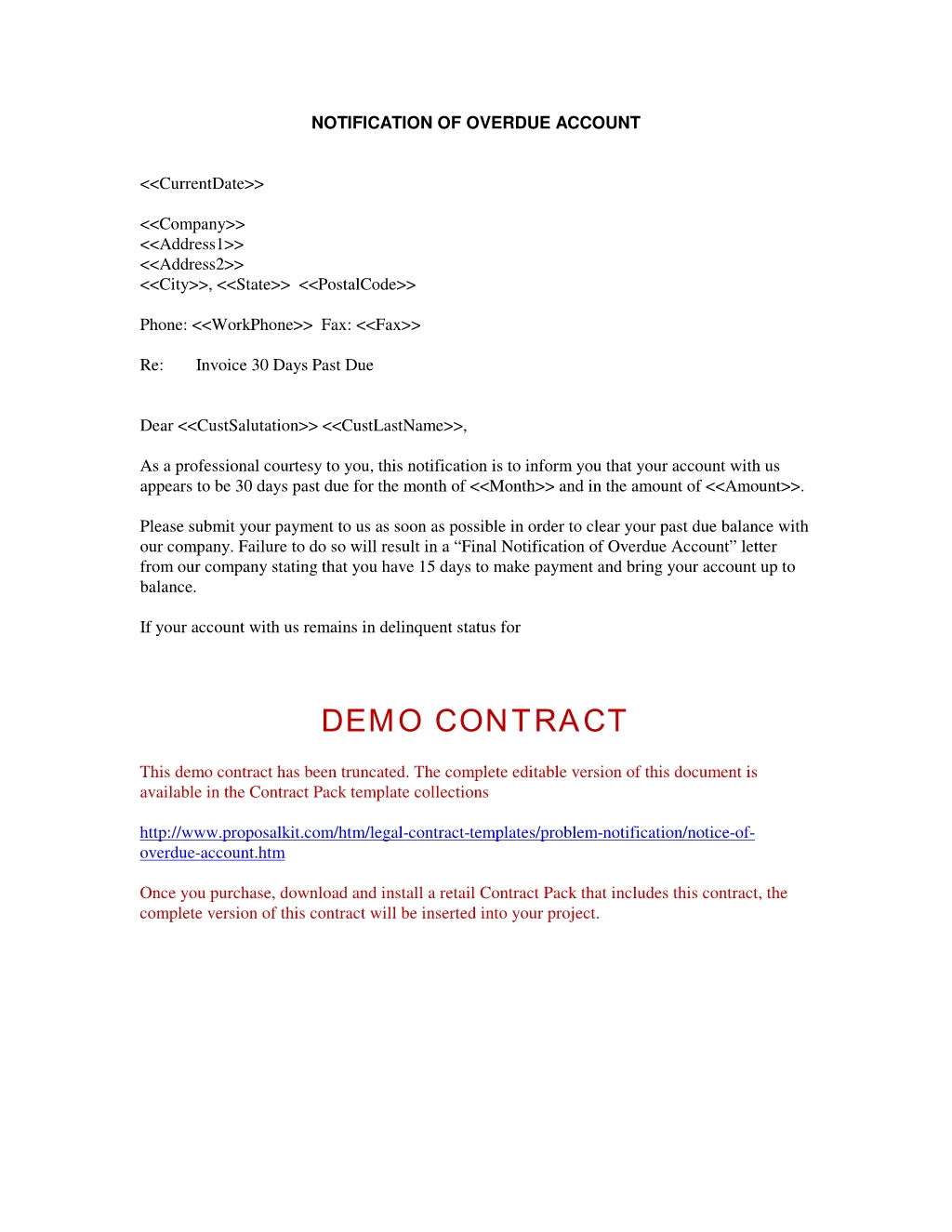 notice of overdue account notification of problem documents late invoice letter