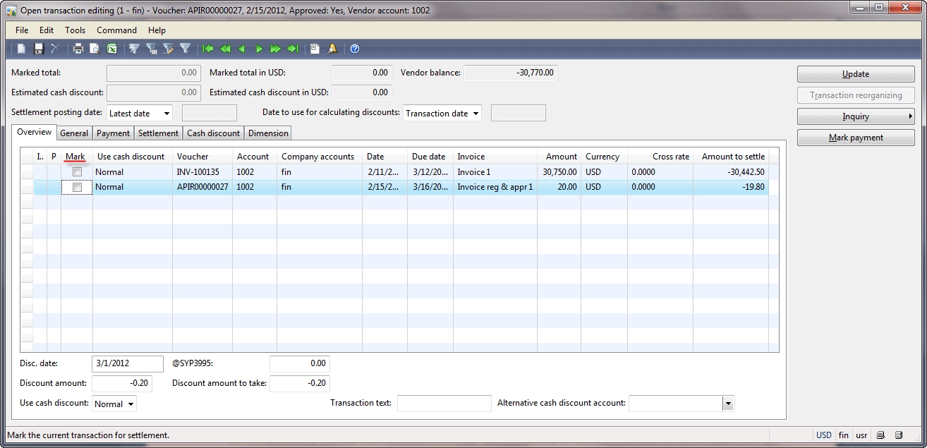 payment process dynamics ax training settle an invoice