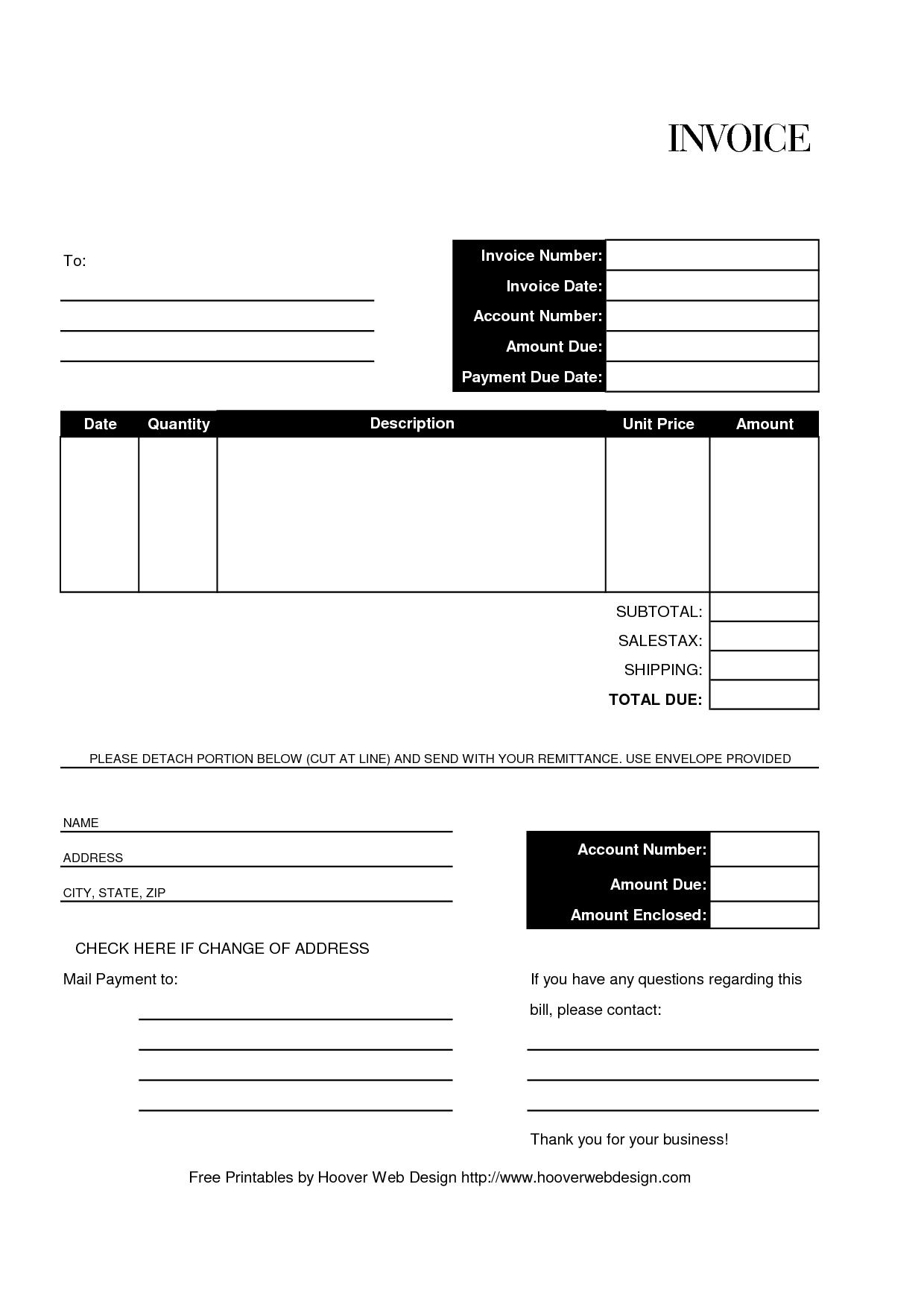 printable billing invoice template billing invoice template generic invoices printable