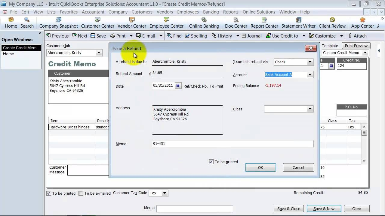 quickbooks training create a credit memo and apply to an invoice return to invoice