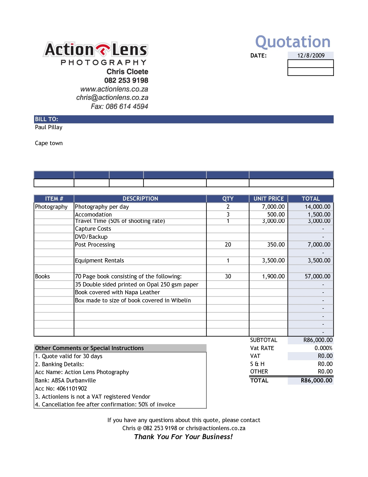 Sale Invoice Template