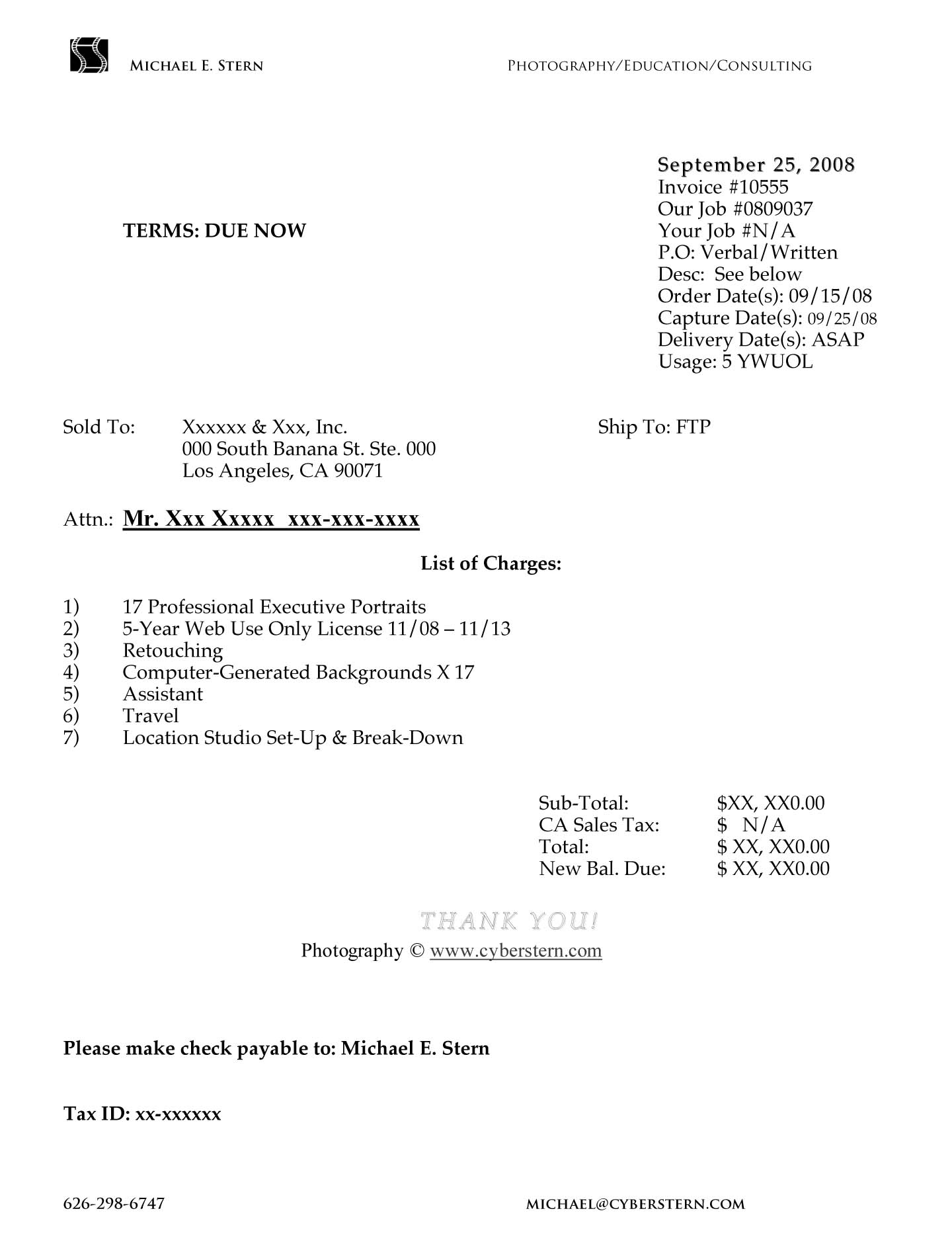 sample invoice for professional services photography invoice photographers invoice template