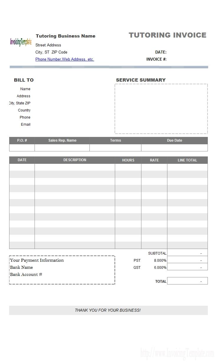 service invoice template tutoring invoice template
