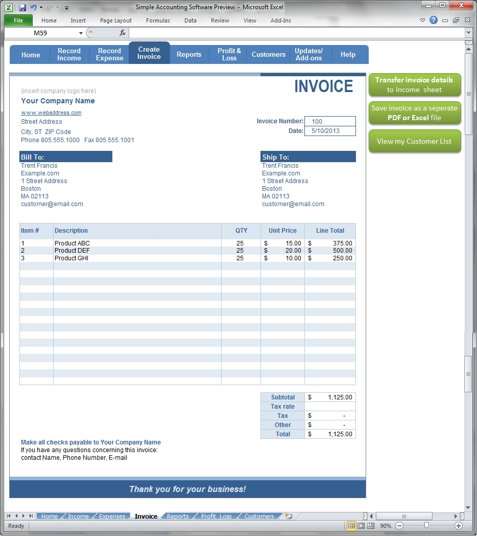simple accounting create invoice screenshot simpleplanning creat an invoice